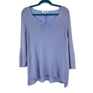 Company by Ellen Tracy Periwinkle Knit Front Top